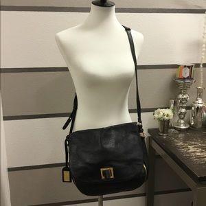 Badgley Mischka Leather Zipper Crossbody Bag
